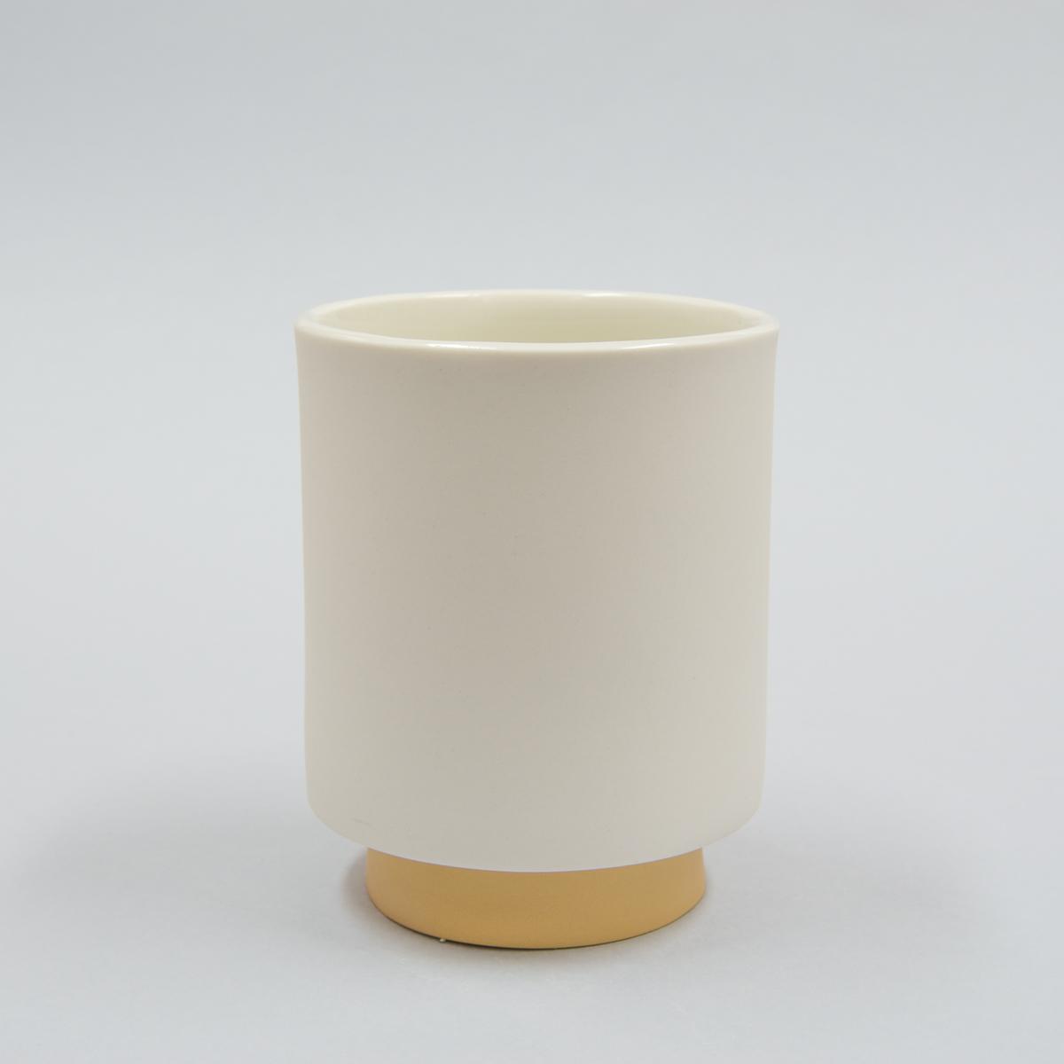 Mug porcelaine pied jaune ocre
