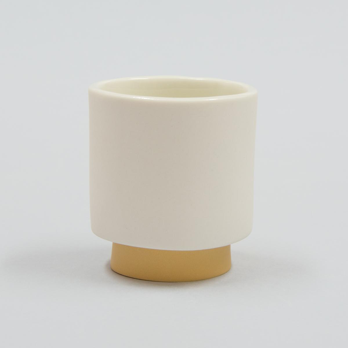 Tasse à café porcelaine jaune ocre