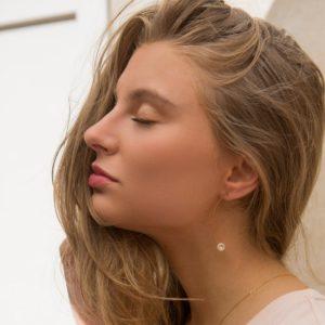 Boucles d'oreilles Perle Blanche et Or