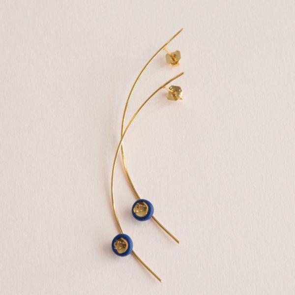 Boucles d'oreilles-Longues-perle-bleu-or