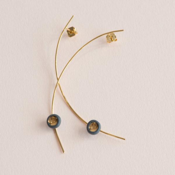 Boucles d'oreilles Perle Gris et Or