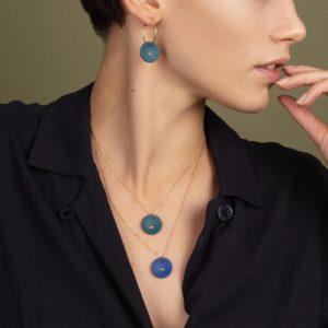 Vesna-Garic-Collier-boucles-oreilles-médaille-porcelaine-Vert-or-Lune-M51-2